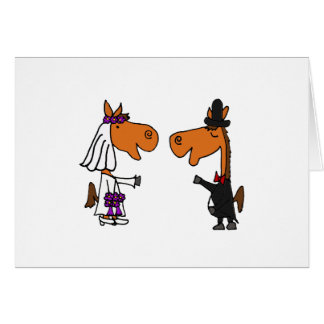 Fun Horse Bride and Groom Wedding Design Card