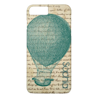 Fun Hot Air Balloon Vintage Handwriting Add Name iPhone 8 Plus/7 Plus Case