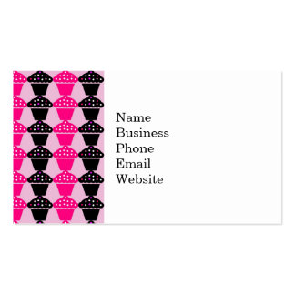 Fun Hot Pink and Black Cupcake Pattern Pack Of Standard Business Cards