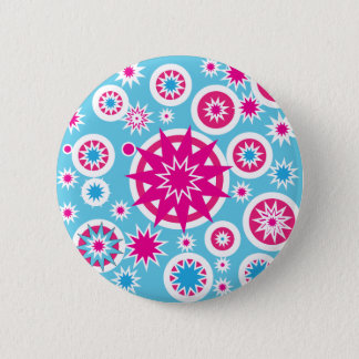 Fun Hot Pink and Blue Snowflake Stars Design 6 Cm Round Badge