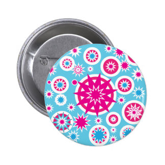 Fun Hot Pink and Blue Snowflake Stars Design 6 Cm Round Badge