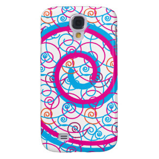 Fun Hot Pink and Teal Blue Spiral Pattern Galaxy S4 Case