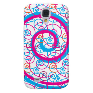 Fun Hot Pink and Teal Blue Spiral Pattern Samsung Galaxy S4 Covers