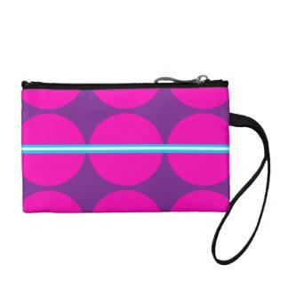 Fun Hot Pink Purple Polka Dots Teal Stripes Design Coin Wallets