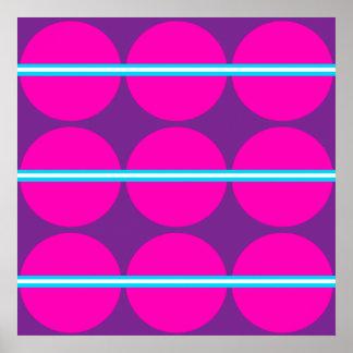 Fun Hot Pink Purple Polka Dots Teal Stripes Design Poster