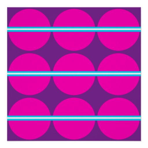 Fun Hot Pink Purple Polka Dots Teal Stripes Design Poster