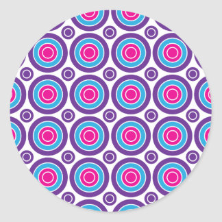 Fun Hot Pink Purple Teal Concentric Circles Design Round Sticker