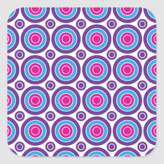 Fun Hot Pink Purple Teal Concentric Circles Design Square Sticker