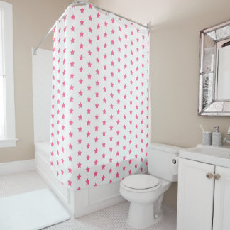 Fun Hot Pink Stars Pattern Shower Curtain