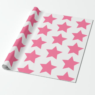 Fun Hot Pink Stars Pattern Wrapping Paper