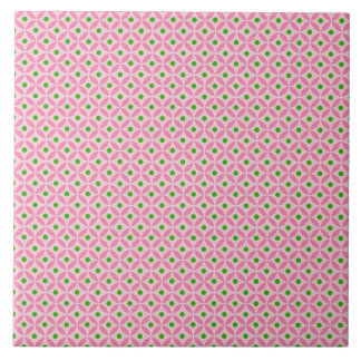 Fun Hot Pink Teal and Soft Pink Diamond Pattern Large Square Tile