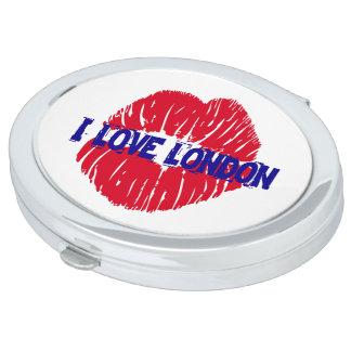 "Fun ""I Love London"" red lipstick kiss subway sign, Vanity Mirrors"