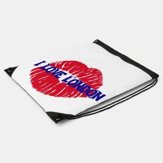 "Fun ""I Love London"" red lipstick kiss subway sign, Drawstring Backpacks"