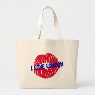 "Fun ""I Love London"" red lipstick kiss subway sign, Large Tote Bag"