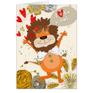 Fun I Love You - Cartoon Lion and Hearts Greeting Card