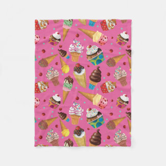 Fun Ice Cream Print Blanket, Pink Fleece Blanket