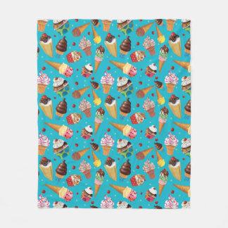 Fun Ice Cream Print Blanket, Turquoise Fleece Blanket