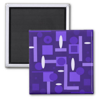 Fun Indigo Purple Blue Geometric Shapes Pattern Square Magnet