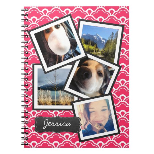 Fun Instagram Photo Collage PINK Notebook