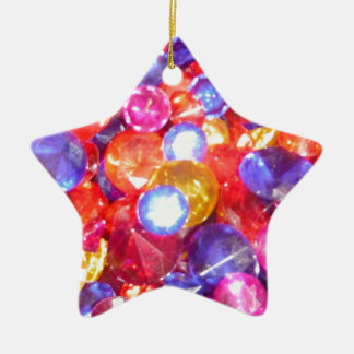 Fun Jewels Gems Colorful Colors Vibrant Pretty Ceramic Star Decoration