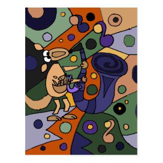 Fun Kangaroo Playing Saxophone Modern Art Postcard