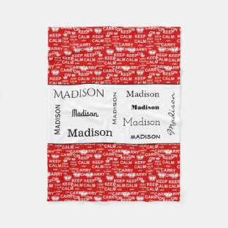 Fun Keep Calm Carry On w/Name Fleece Blanket
