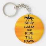 Fun Keep Calm & Ride Till Dawn Horse Keychain