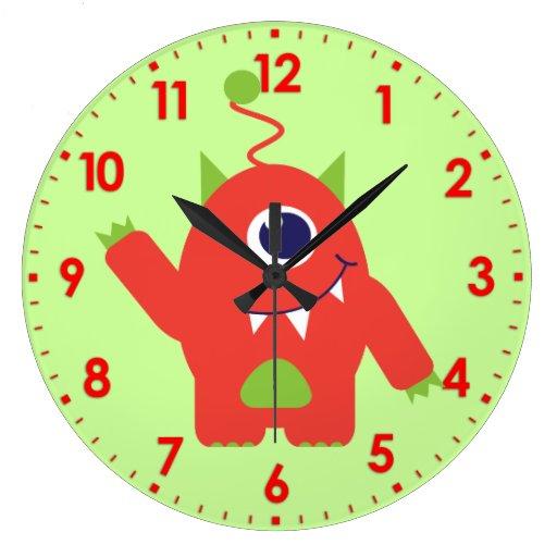Fun kids alien orange and green wall clock