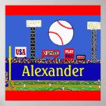 Fun Kids Baseball Personalised Poster Art Gift