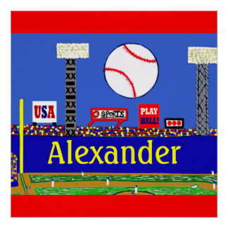 Fun Kids Baseball Personalized Poster Art Gift