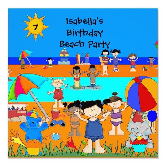 Fun Kids birthday Party Beach party Card