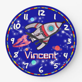 Fun kids boys rocket space blue wall clock