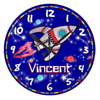 Fun kids boys rocket space blue wall clock