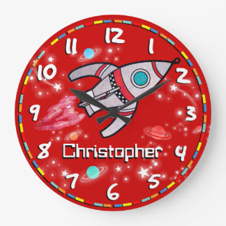Fun kids boys rocket space name red wall clock