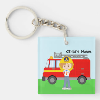 Fun Kid's Fireman and Big Red Fire Truck Key Ring