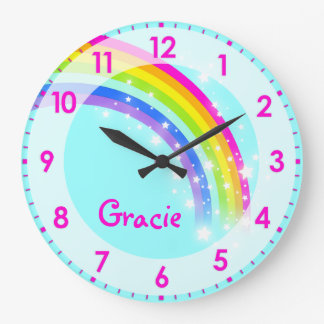 Fun kids girls rainbow name aqua pink wall clock