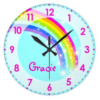 Fun kids girls rainbow name aqua pink wall clock