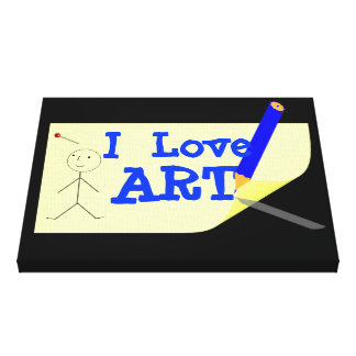 Fun Kids I Love Art Picture Canvas Print