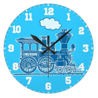 Fun kids name train blue and white wall clock