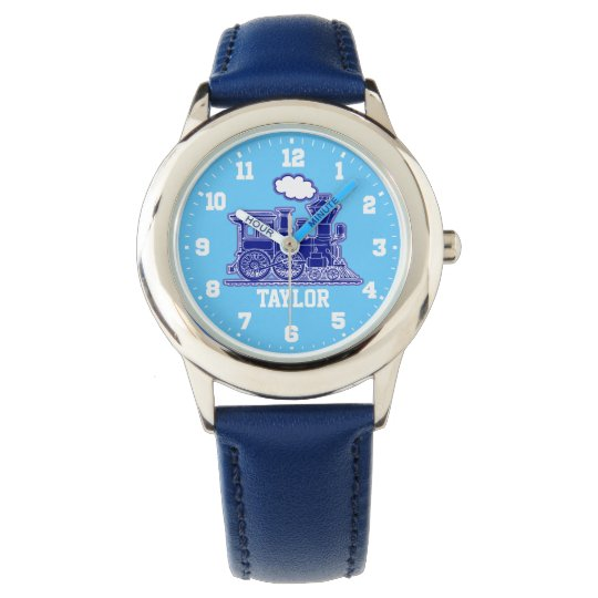 Fun kids named blue train wrist watch