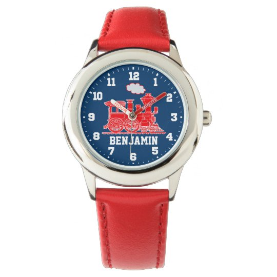 Fun kids named red blue train wrist watch
