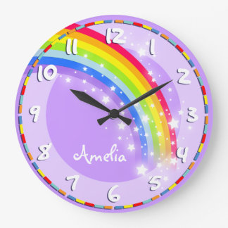 Fun kids rainbow name purple wall clock