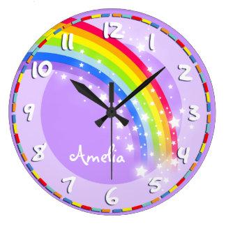 Fun kids rainbow name purple wall clock