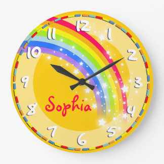 Fun kids rainbow name yellow wall clock