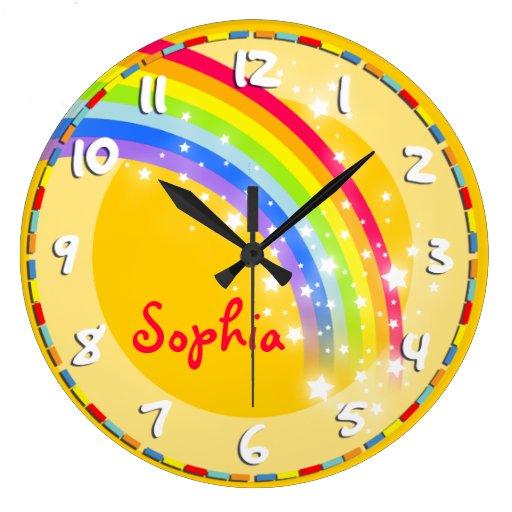 fun kids rainbow name yellow wall clock zazzle