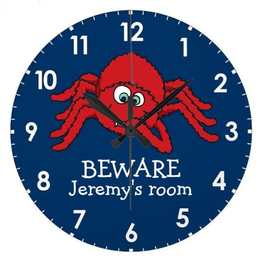 Fun kids spider beware named wall clock