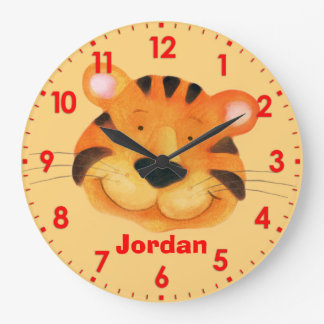 Fun kids tiger name orange wall clock