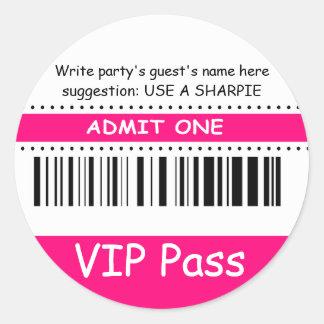 Fun Kids VIP Pass Admit One Birthday Party fuschia Classic Round Sticker