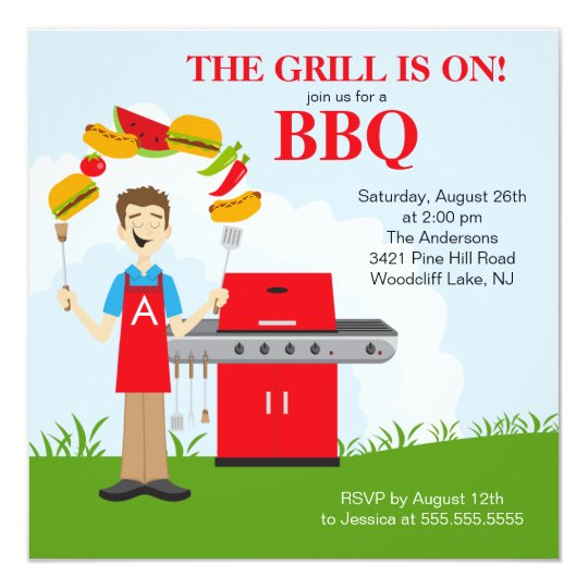 Fun King of the Grill Barbecue Party invitation