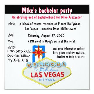 Fun Las Vegas Bachelor Party 13 Cm X 13 Cm Square Invitation Card